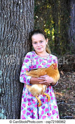 Chicken Pet for Little Girl - csp72166962