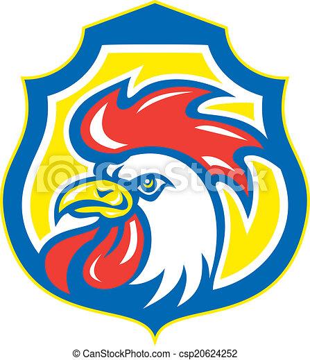 Chicken Rooster Head Mascot Shield Retro - csp20624252