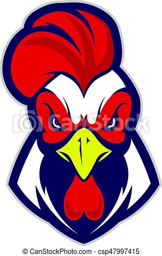 Chicken rooster head mascot - csp47997415