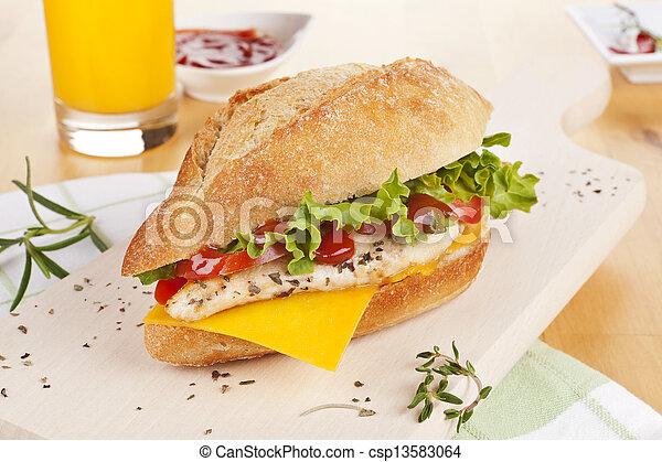 Chicken sandwich with fresh vegetables cheese. - csp13583064
