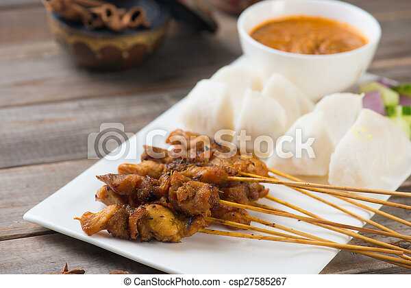 chicken satay popular asian dish - csp27585267