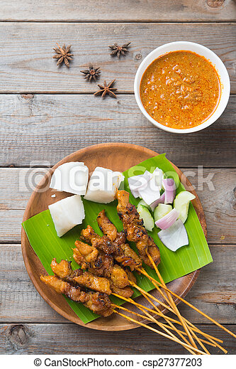chicken satay shot from top down - csp27377203