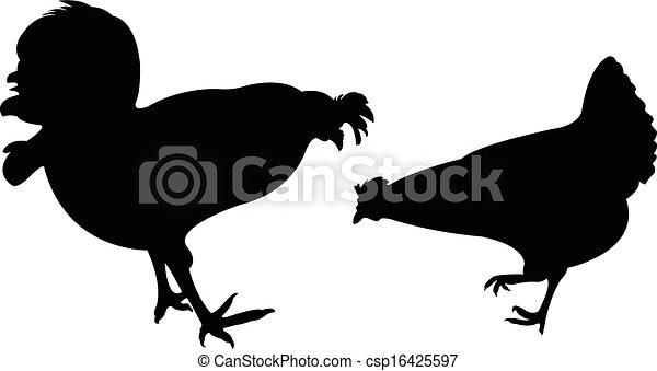 chicken silhouette vector set - csp16425597