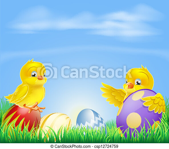 Chickens and Easter eggs Background - csp12724759