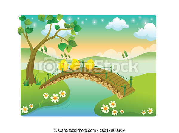 chicks with beautiful landscape in - csp17900389