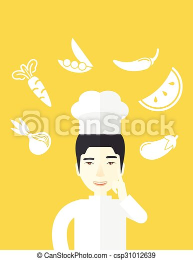 3cdbda21da995 Chief-cooker. A cheerful asian chief-cooker in uniform with finger ...
