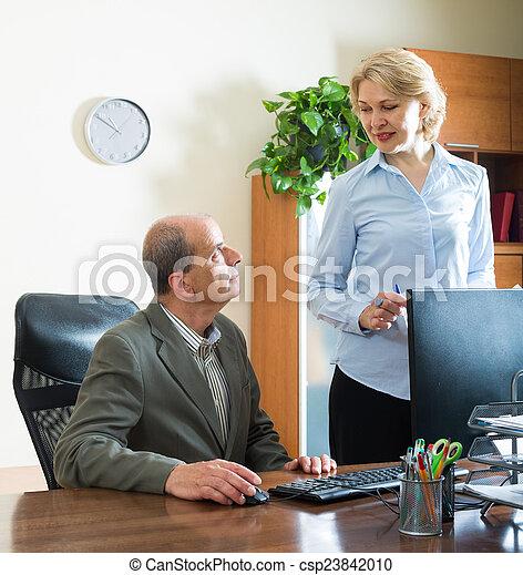 Mature women office secretary share