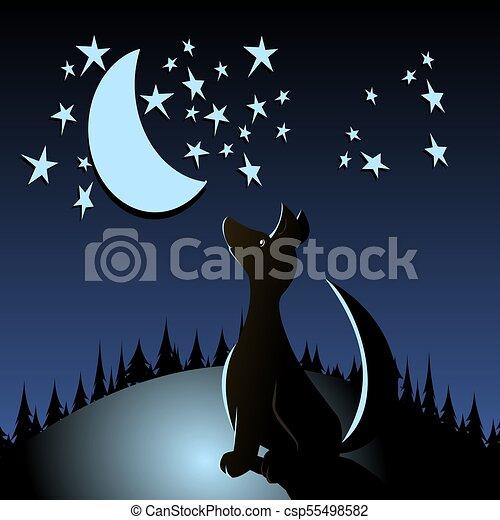 Chien Loup Dessin Animé Lune