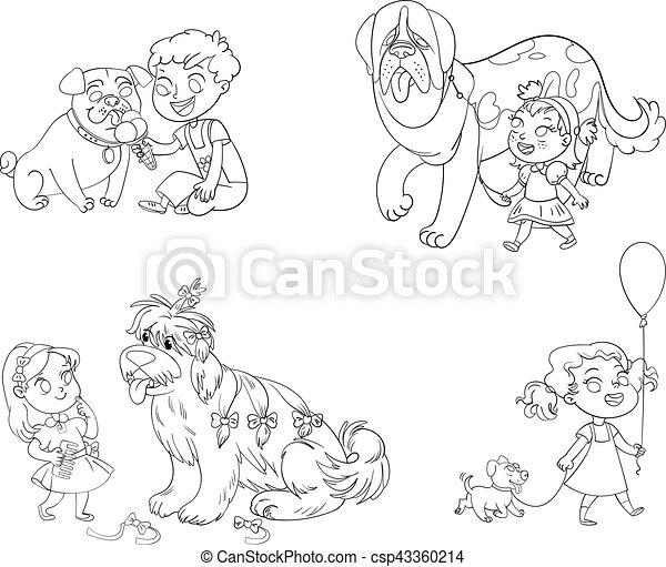 chien marche, enfant - csp43360214