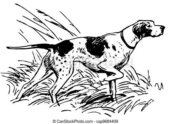 chien, pointage - csp9684409