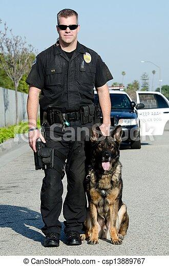 chien policier - csp13889767