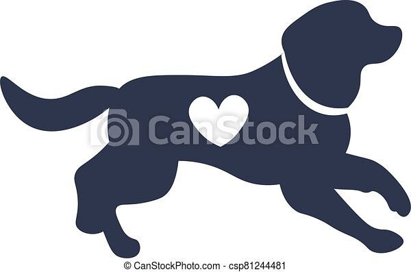 chien, silhouette, forme, coeur - csp81244481