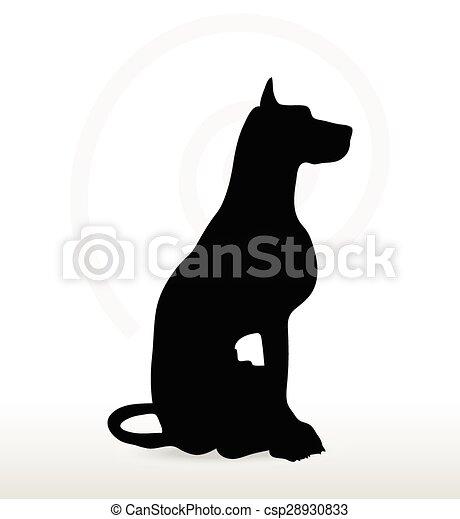 chien, silhouette, séance, pose - csp28930833