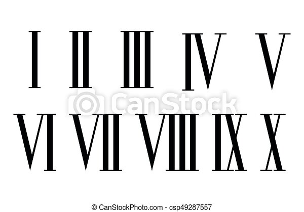chiffres romain set chiffres ensemble isol arri re plan romain blanc. Black Bedroom Furniture Sets. Home Design Ideas