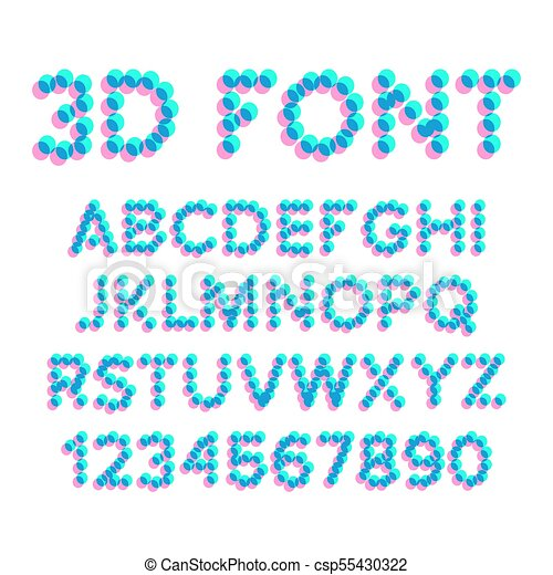 Chiffres Stéréo Police Effet Illustration Déformation Vector Letters Pixel 3d