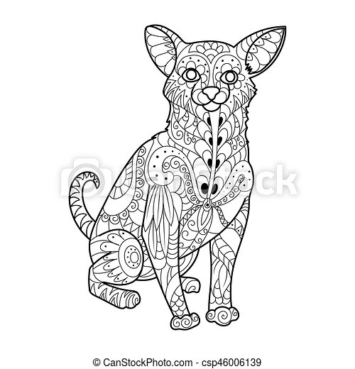 Chihuahua dog coloring book vector illustration. black and white ...