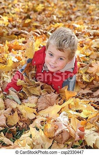 child among fallen leaves - csp2330447