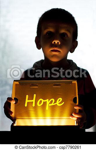 Child and box shine light - csp7790261
