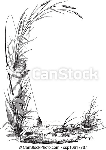 Child angel fishing. Ancient engraving of a child angel fishing by ...