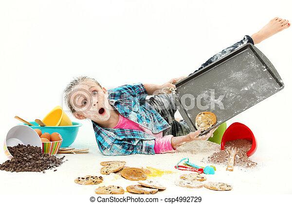 Child Baking Cookies Mess - csp4992729