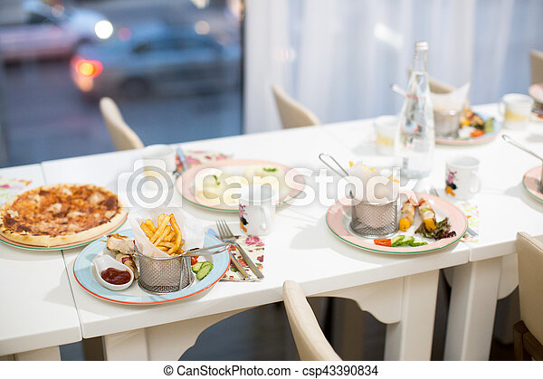 Child birthday table setting on evening reception - csp43390834 & Child birthday table setting on evening reception. Decorated banquet ...