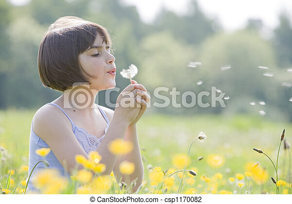 child blowing dandelion2956 - csp1170082