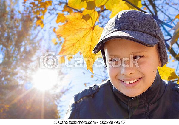 child boy happy smile sun shine autumn leaves  - csp22979576