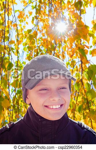 child boy happy smile sun shine autumn leaves  - csp22960354