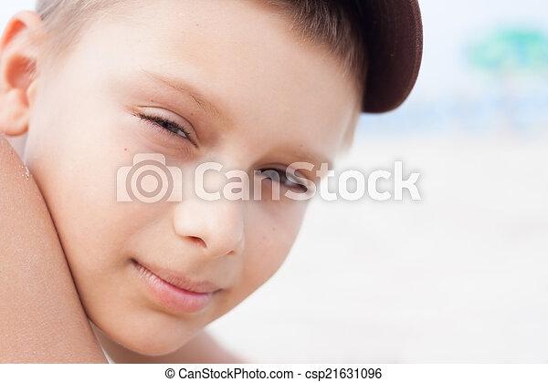 child boy portrait close up outdoor - csp21631096