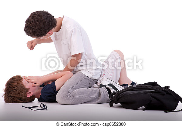 child crying on the floor child being beaten by a teenager, isolated on white, studio shot - csp6652300