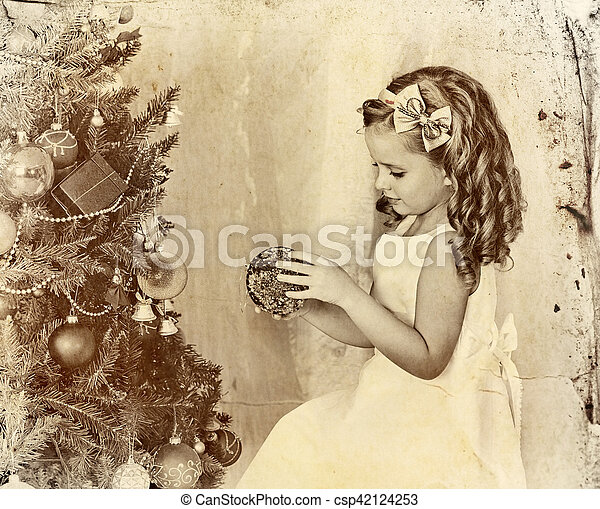 Child Decorate Christmas Tree Old Photo On Yellow Paper Child