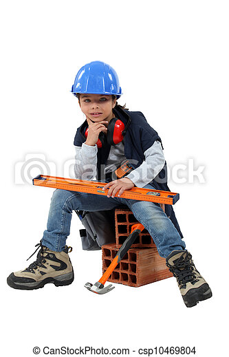 Child dressed as a builder - csp10469804
