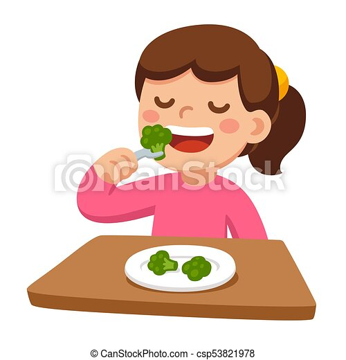 Child Eating Broccoli Cute Cartoon Happy Girl Eating Broccoli Healthy Vegetable Food And Children Vector Illustration