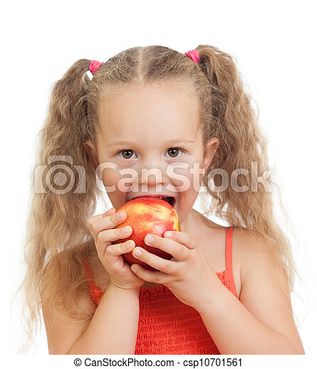 child eating healthy food apples - csp10701561