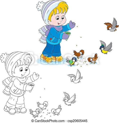 Child Feeds Birds Little Boy Or Girl Feeding A Small Flock Of