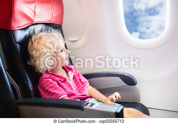 Child flying in airplane  Flight with kids