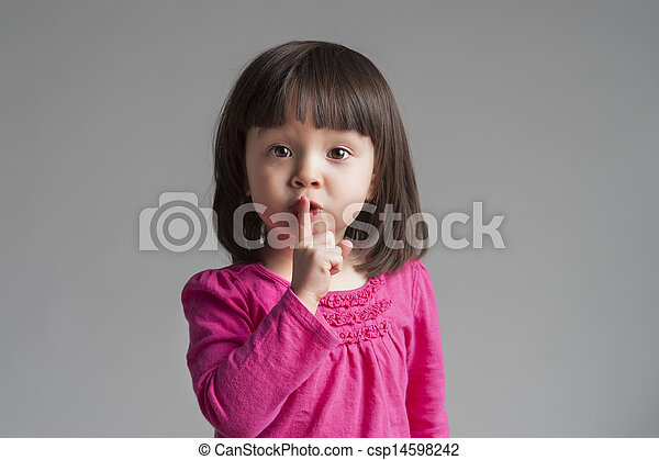 child gesturing keep quiet - csp14598242