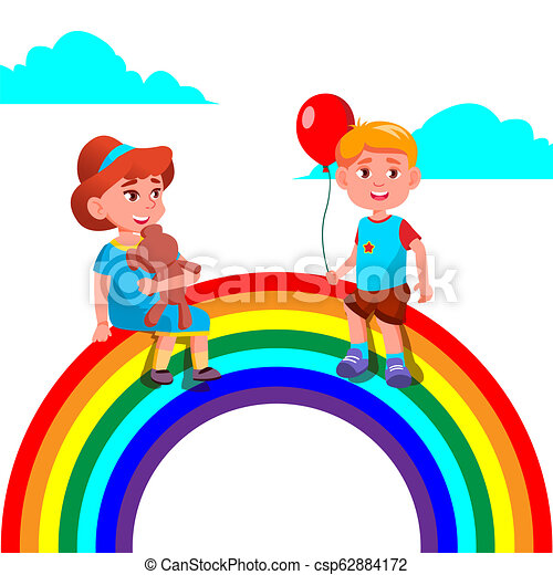 Child Girl And Boy Sitting On The Rainbow Vector. Illustration - csp62884172