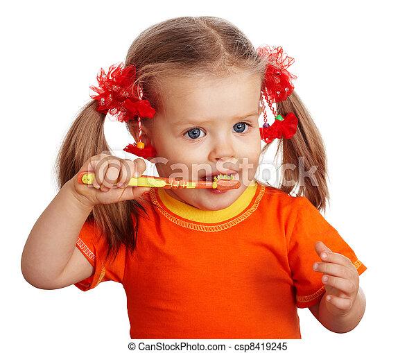 Child girl clean brush teeth.  - csp8419245