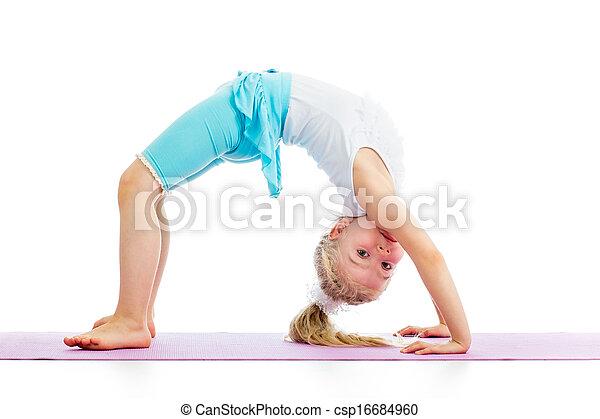 child girl doing gymnastics - csp16684960