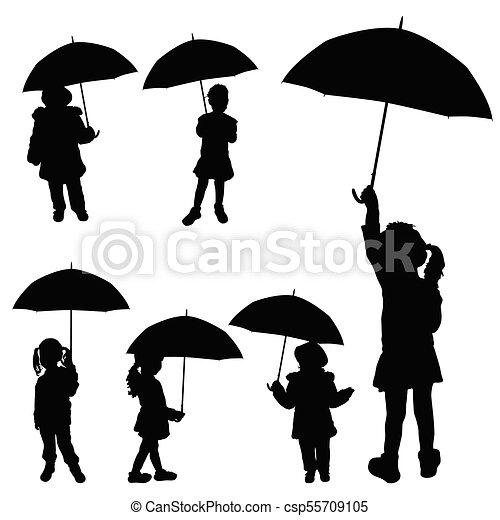00458f53ae266 child girl holding umbrella silhouette - csp55709105