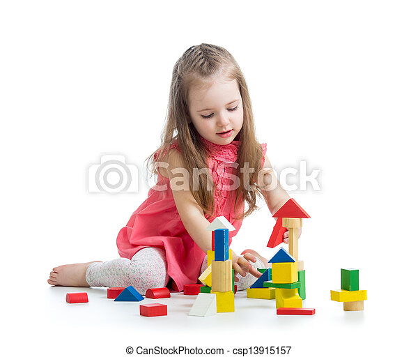 child girl playing with block toys over white background - csp13915157