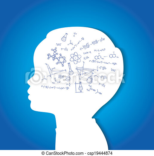 Child head with education icons - csp19444874