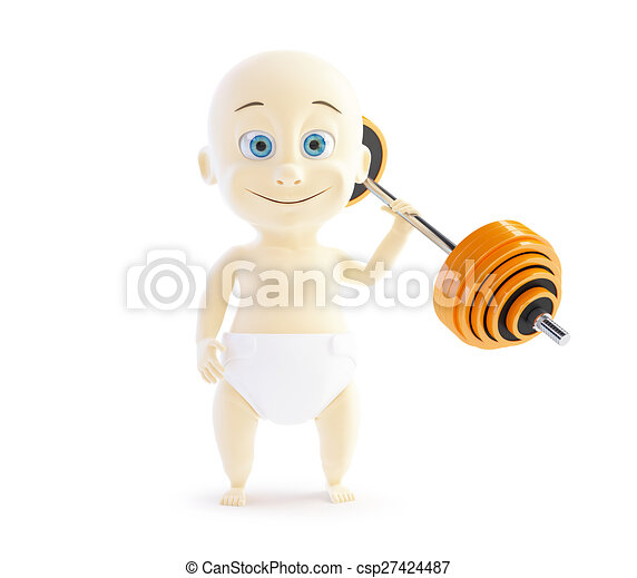 child holding a red barbell one hand - csp27424487