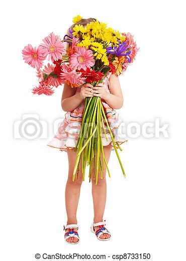 Child holding flowers. - csp8733150