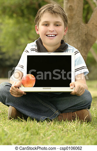 Child Holding Laptop - csp0106062