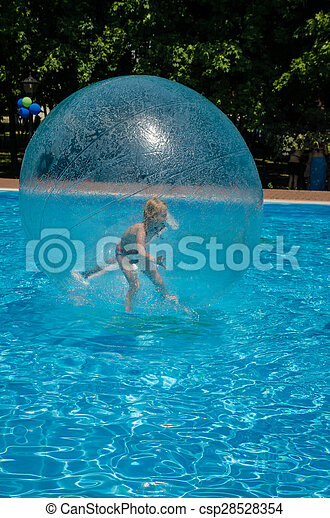 child in air bubble - csp28528354