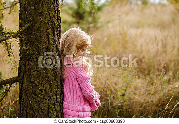 child in forest alone - csp60603390