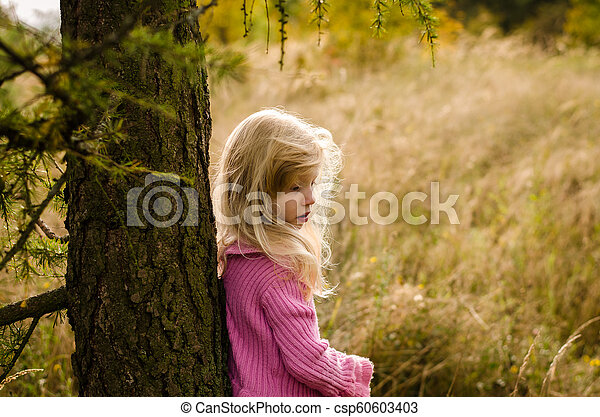 child in forest alone - csp60603403