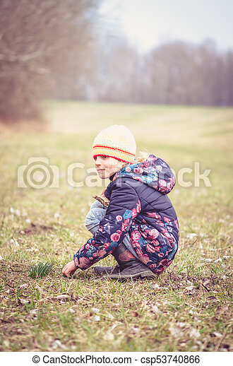 child in meadow - csp53740866